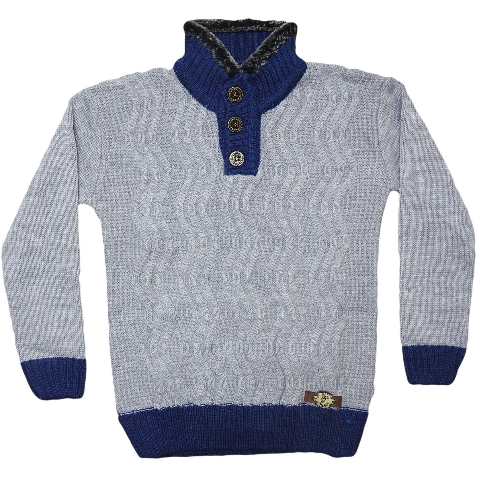309 wholesale children's winter knitted pullovers,jumpers with buttons and with a fluffy collar,for boys for 5-7-9 age
