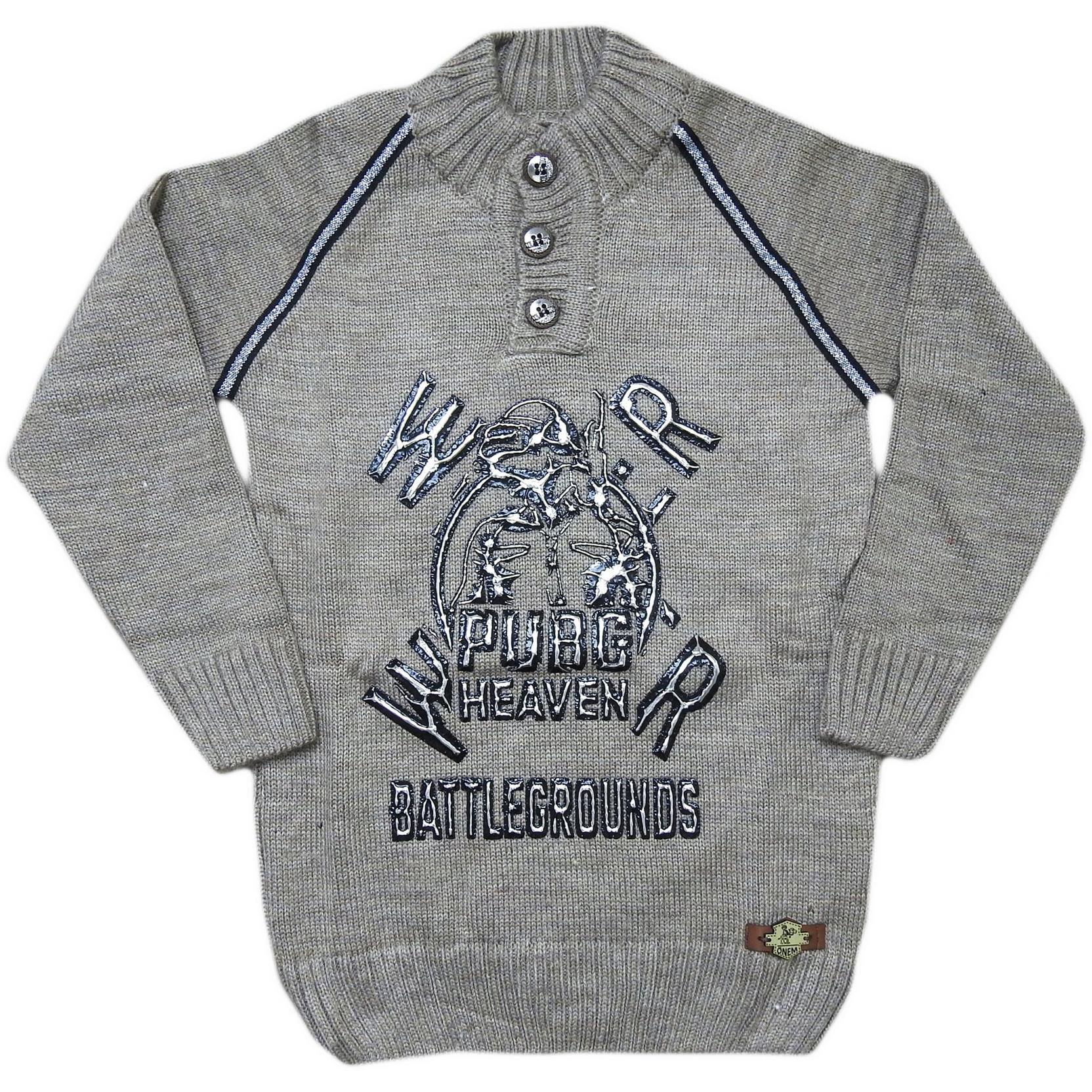 312 Wholesale Knit Sweater For Boy Kids With Pubg Embroidered 5-7-9 Age