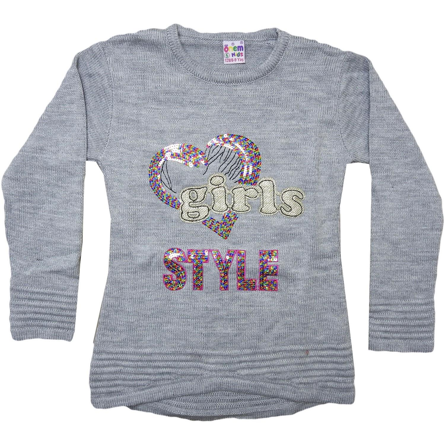 604 wholesale girls childrens sweater girls style embroidery 5-7-9 age