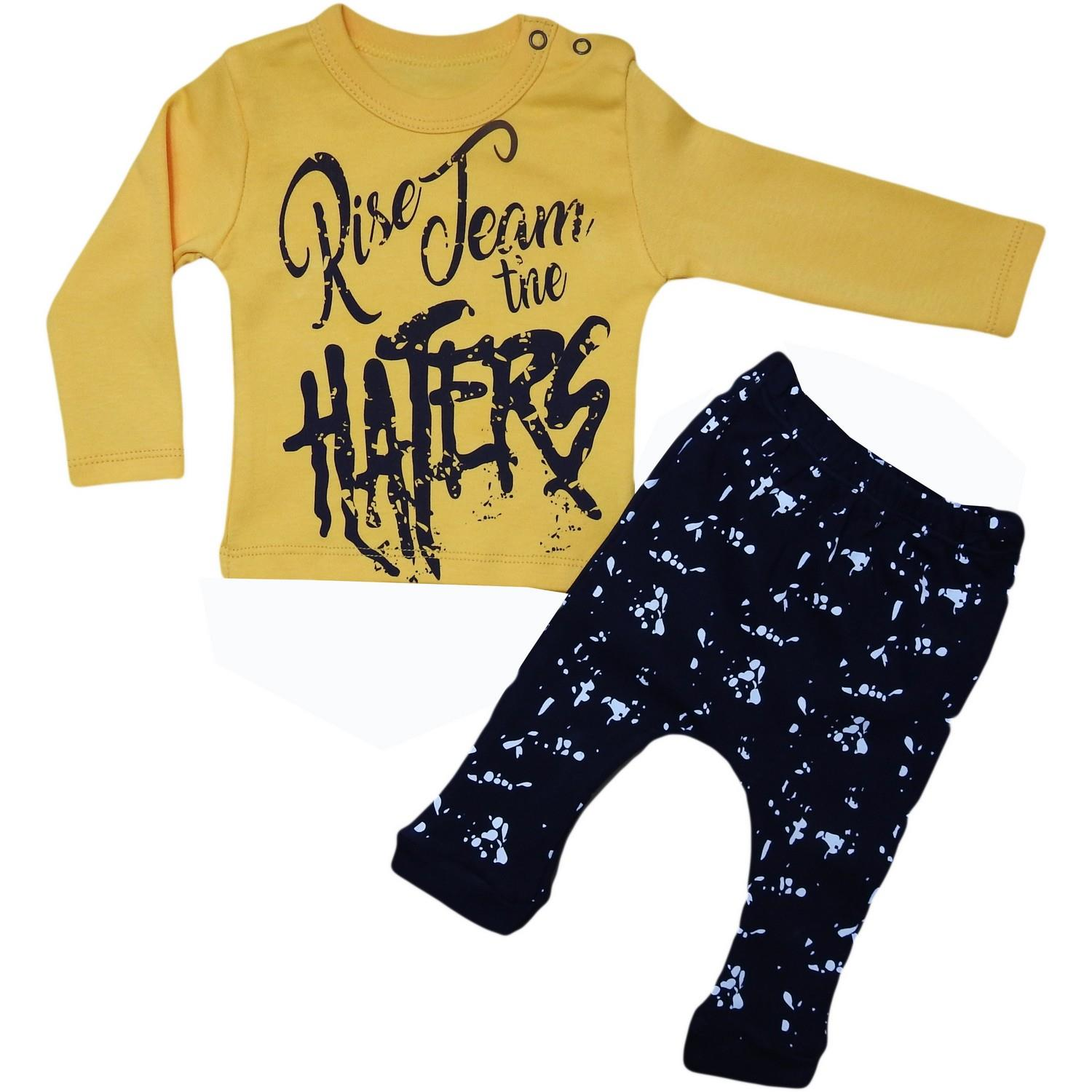 "3005 male baby suit with ""haters"" print for 6-9-12-18 months age"