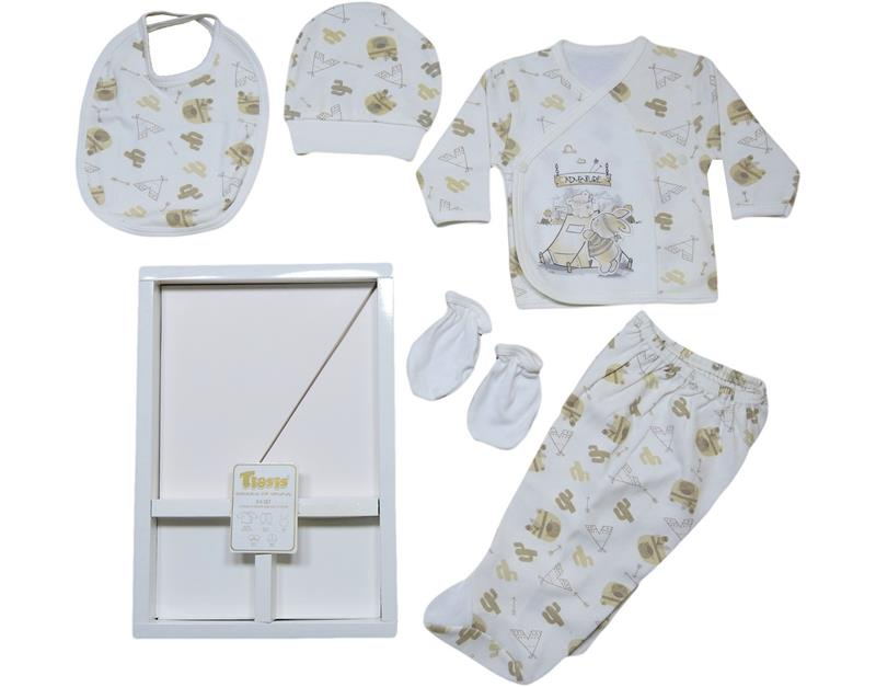T-1080 Wholesale Baby Bodysuit 5 Piece With Native American Box