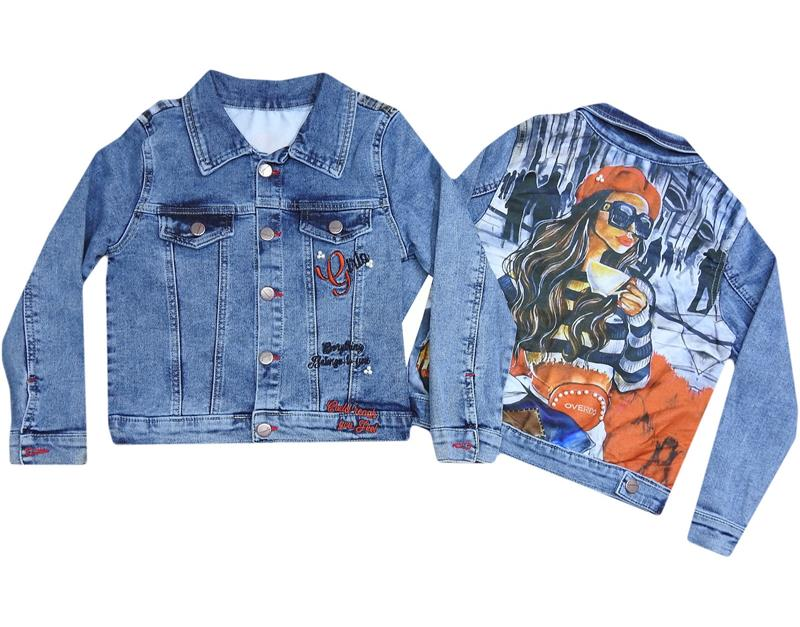 6113 wholesale printed girl denim jacket for 7-8-9 age